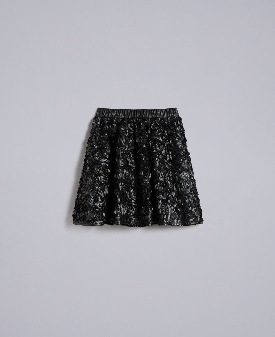 Faux leather skirt with roses Black Woman JA82DP-0S