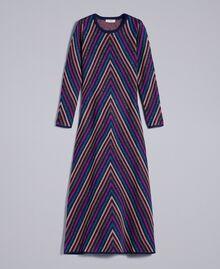 Maxikleid aus Lurexjacquard mit mehrfarbigem Streifenmuster Jacquard Blau / Lurexstreifen Frau TA838E-0S