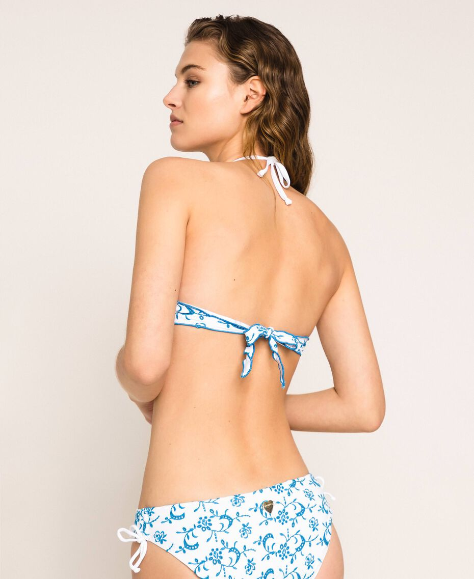 """Bikini bottom with broderie anglaise and drawstring Two-tone """"Bay"""" Blue / Optical White Woman 201LMML99-03"""