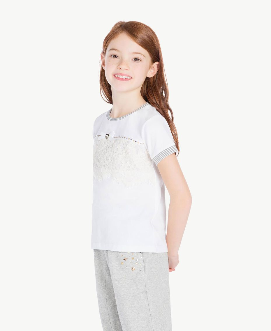 T-shirt dentelle Bicolore Blanc Papyrus / Chantilly Enfant GS82UP-03