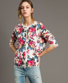 Jumper-cardigan with floral print Cloth White Flowers Print Woman 191MP3131-01