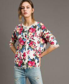 Pullover-Cardigan mit Blumenmuster Motiv Tuch Weiße Blumen Frau 191MP3131-01