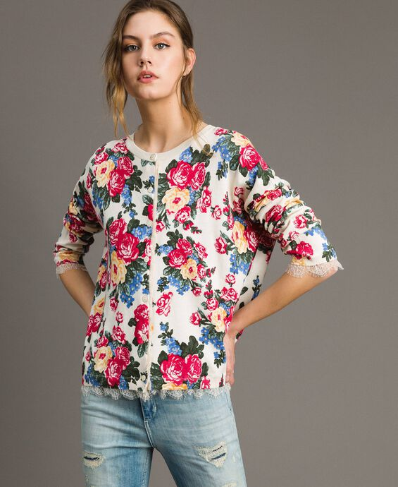 Jumper-cardigan with floral print