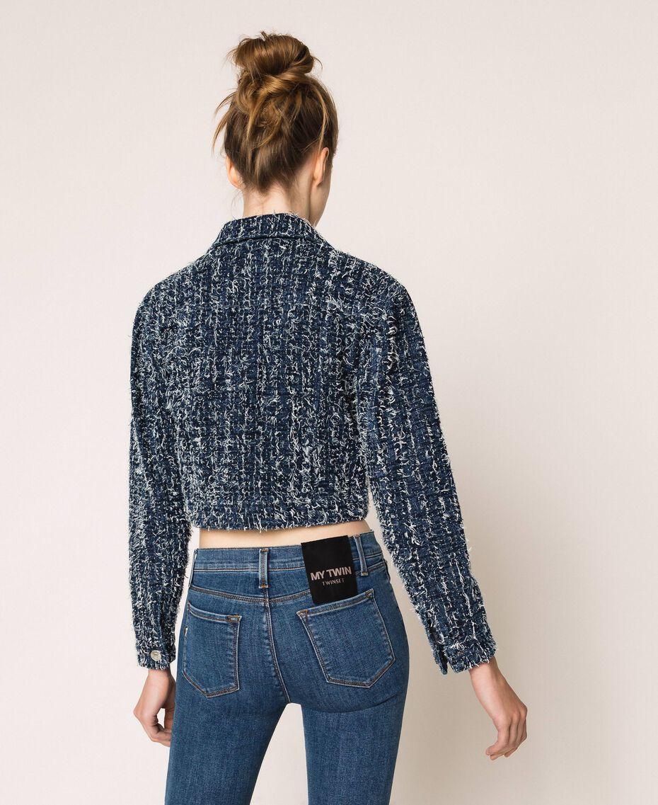 Giacca in jeans con bouclé Denim Blue Donna 201MP234A-03