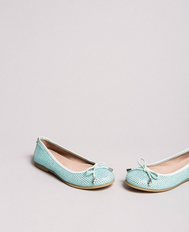 """Leather ballerina shoes with rhinestones Blue Clear """"Water"""" Child 191GCJ072-01"""