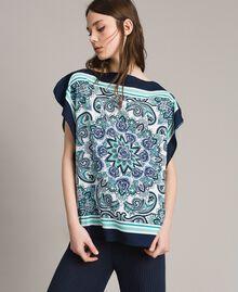 Шарф-блуза из крепдешина с принтом Ночной Синий Принт Для Шарфа женщина 191MT2122-01