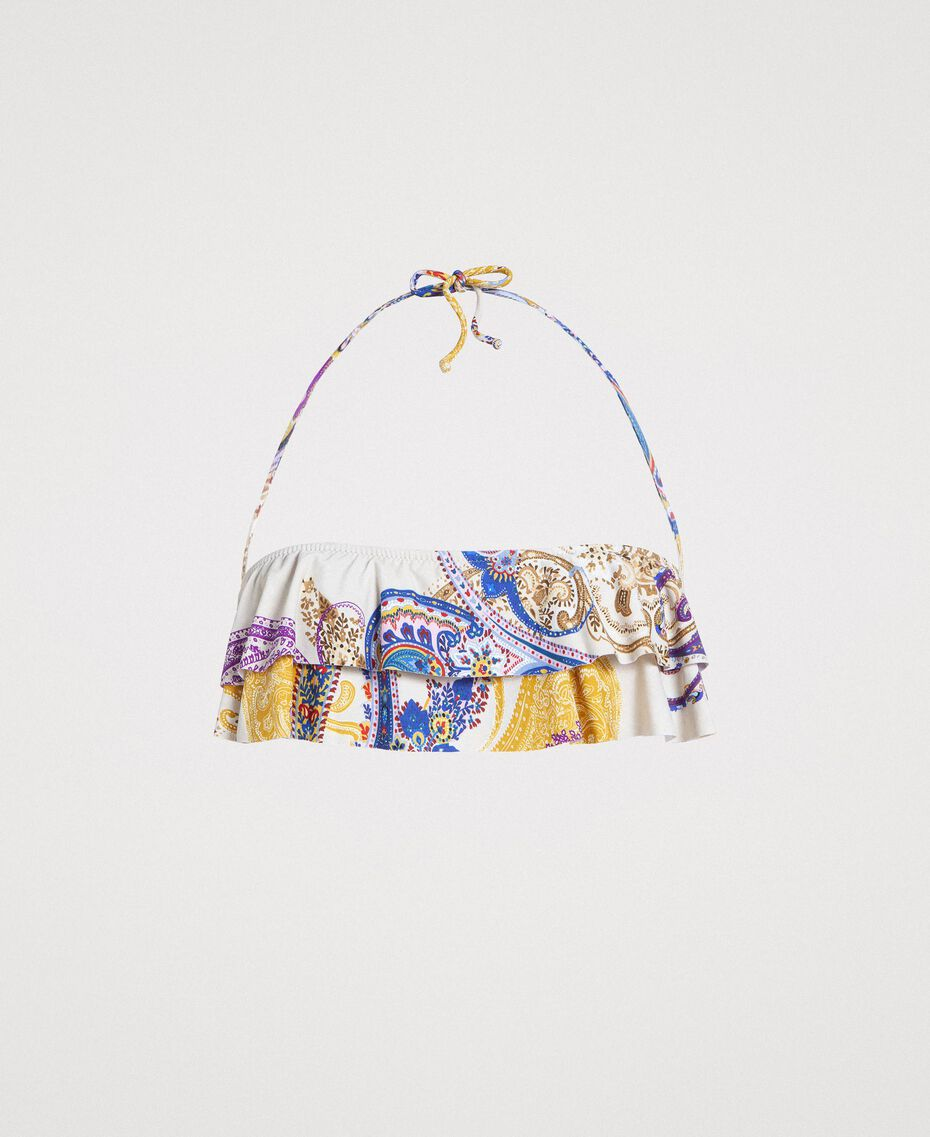 "Paisley print bandeau bikini top ""Milkyway"" Beige / Paisley Print Woman 191LMMS11-01"