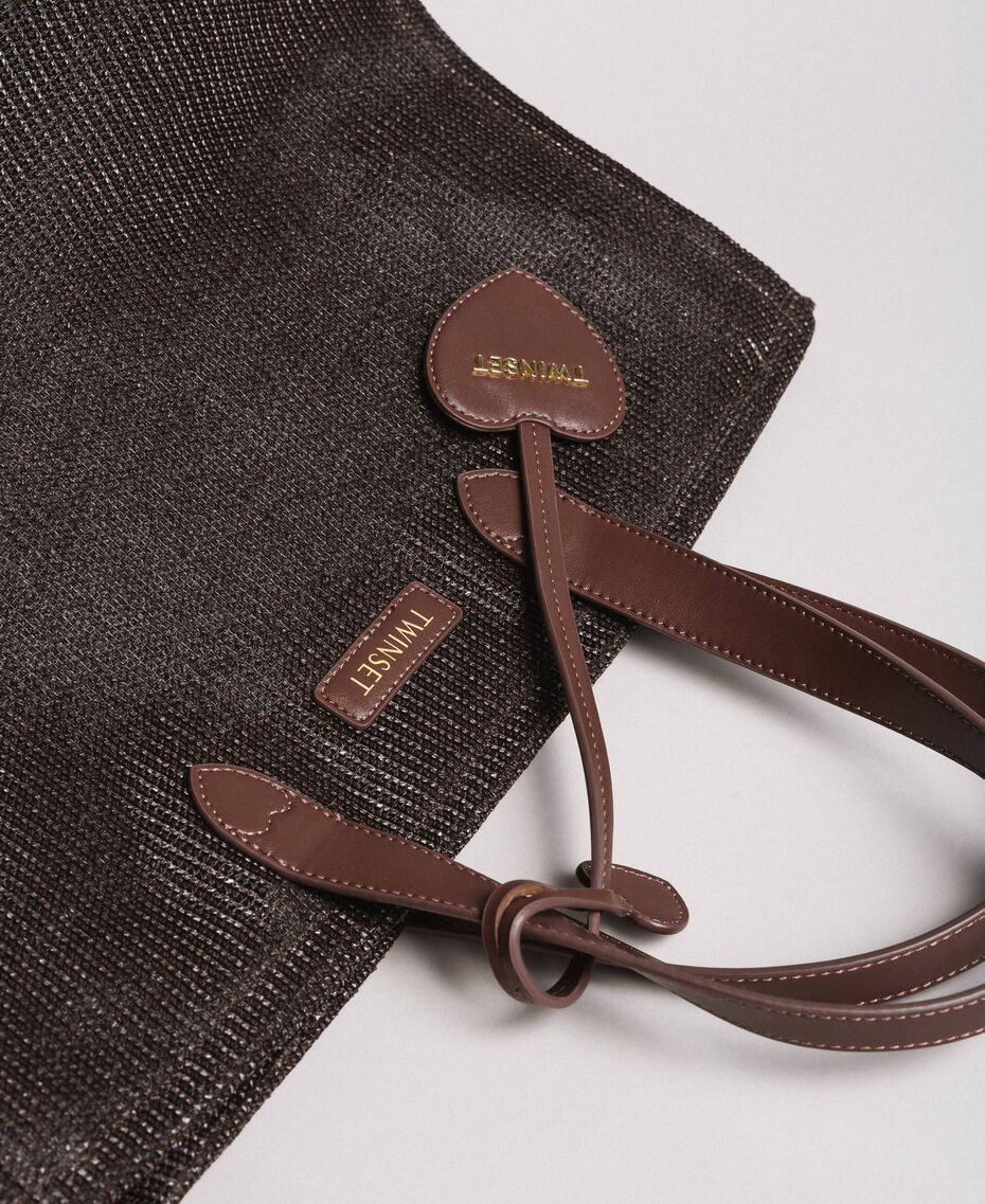 Oversized straw-effect shopping bag Dark Brown Woman 191LM4ZCC-02