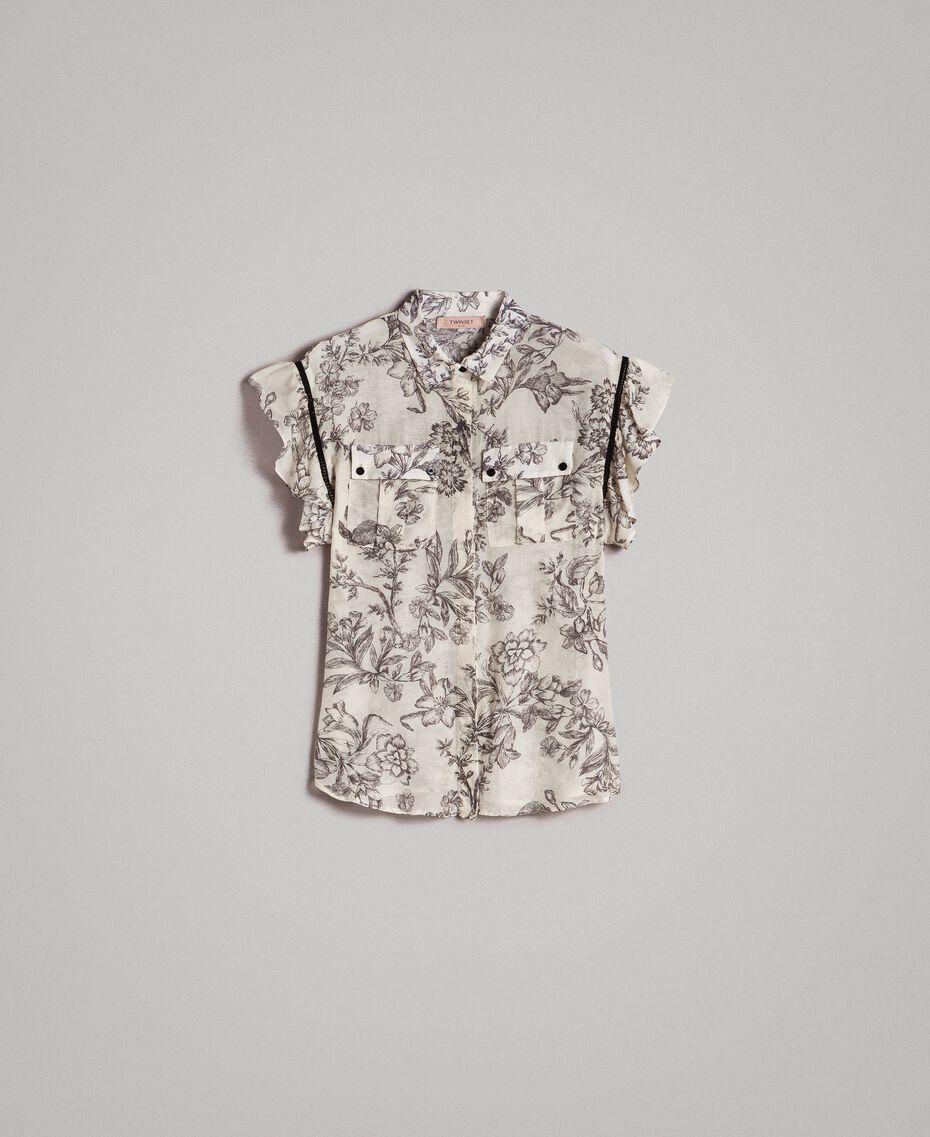 Silk blend printed shirt Toile De Jouy Black Print Woman 191TT2403-0S