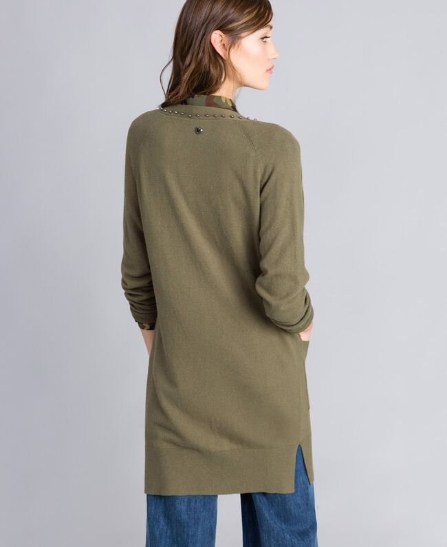 Long cardigan with pearls Alpine Green Woman JA8314-03
