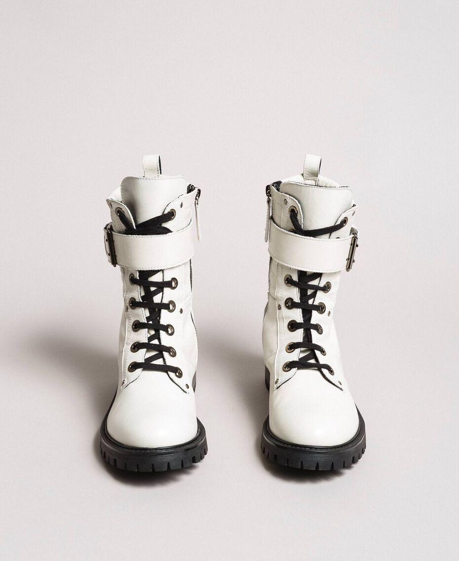 Schnürstiefel aus Leder mit Knöchelriemen Weiß Schnee Frau 191TCP230-05