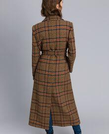 """Cappotto lungo in panno check Bicolor Quadri Beige """"Cookie"""" / Arancione """"Bruciato"""" Donna TA821G-03"""