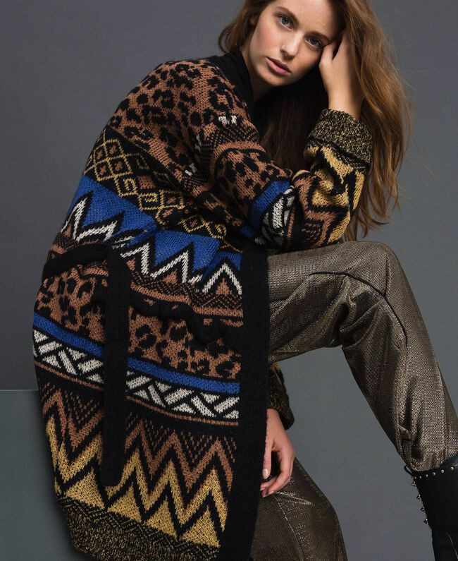 Wool and mohair cardigan with jacquard patterns Geometric Animal Print Mix Jacquard Woman 192ST3191-01