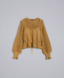 Pull en lurex point filet Jaune Or Femme TA83EB-0S