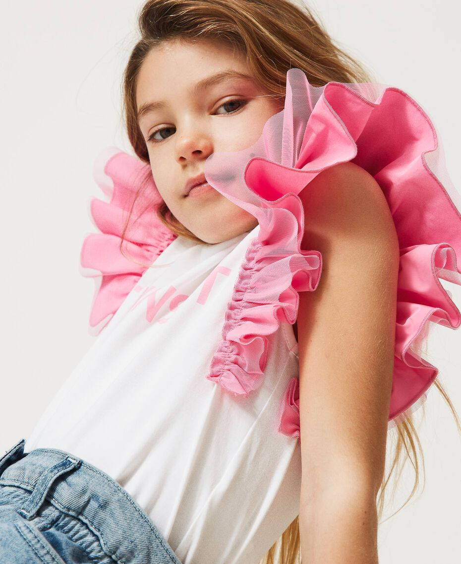 """T-shirt with taffeta sleeves Two-tone """"Off White"""" / """"Rose Bloom"""" Pink Child 211GJ207H-01"""