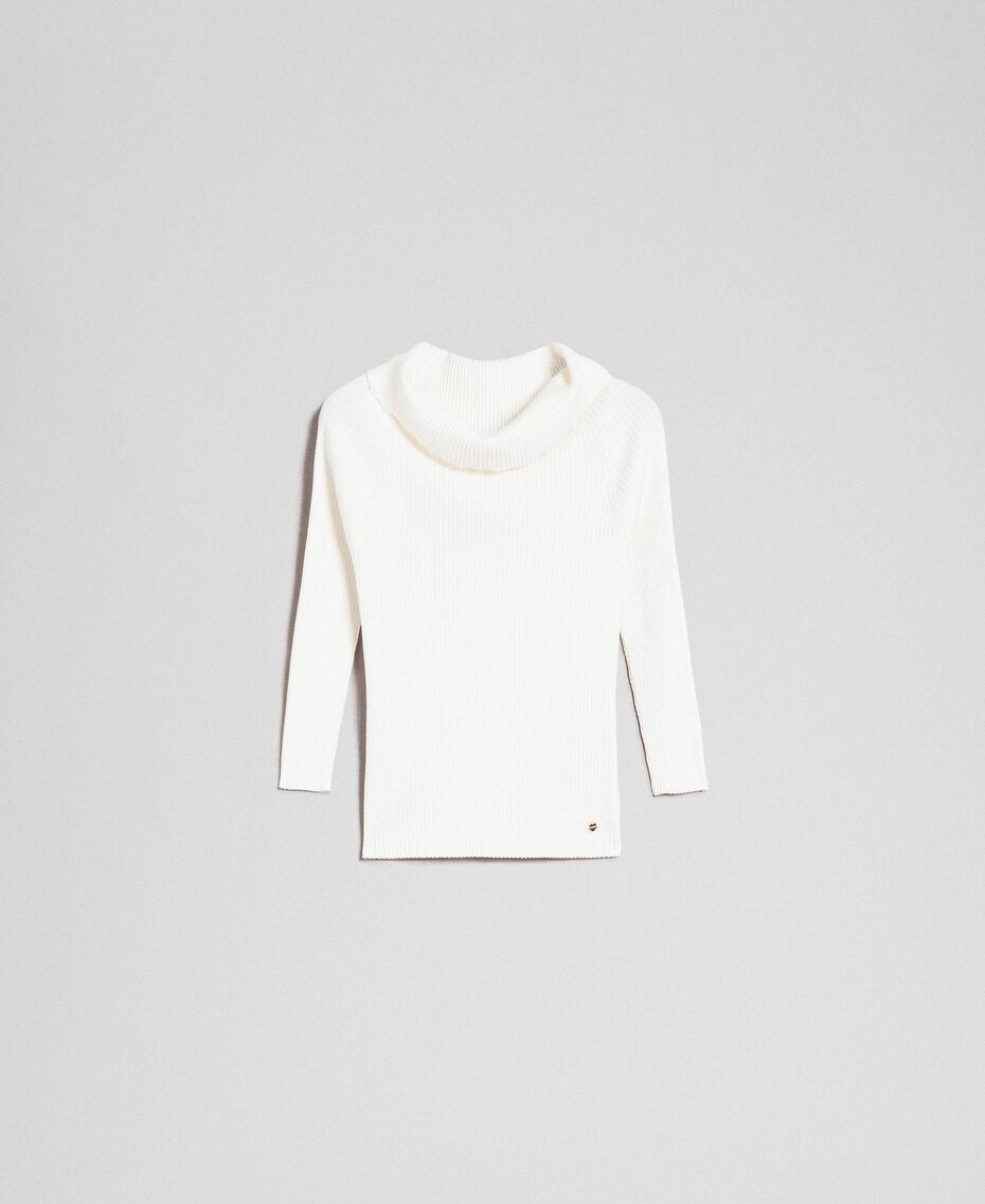 Ribbed jumper with plunge neck Papyrus White Woman 192TP3091-0S