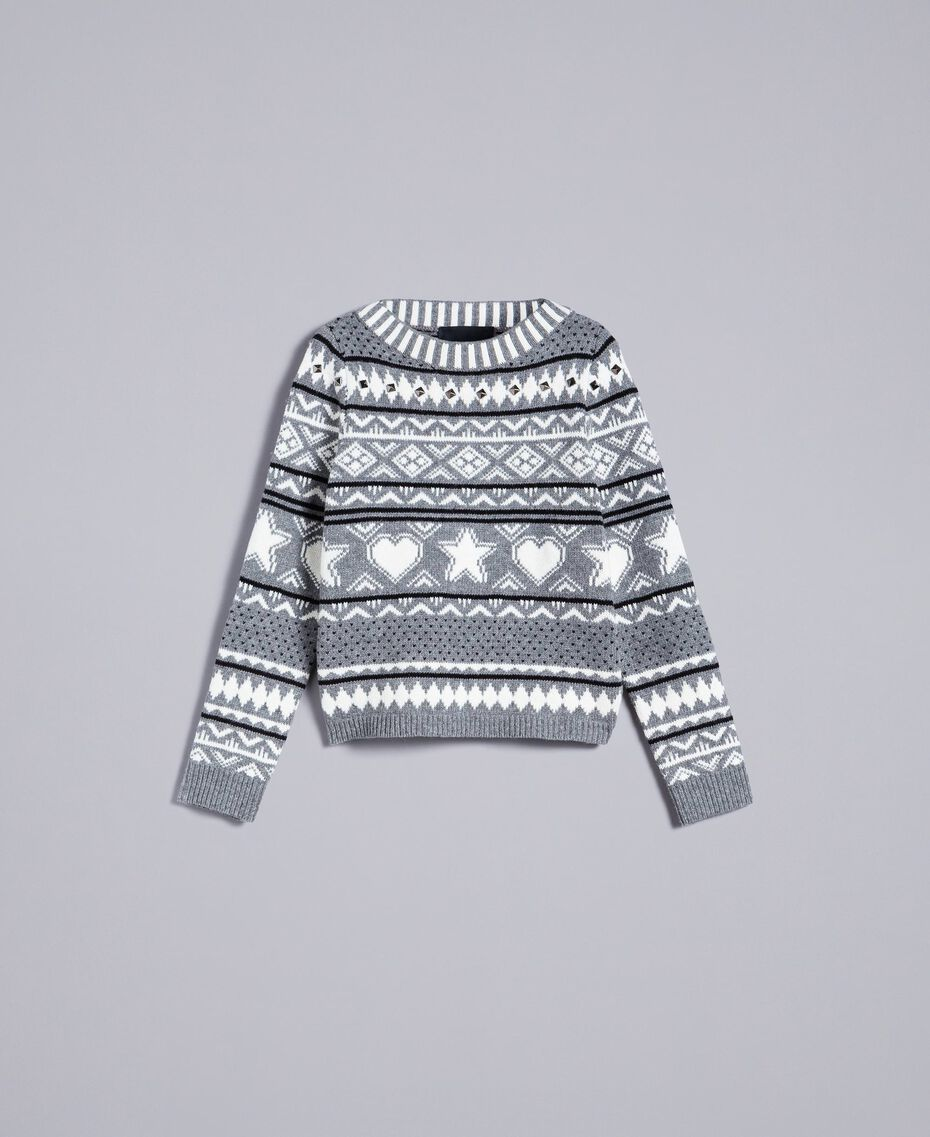Three-colour jacquard jumper with studs Bicolour Grey Melange / Mother-of-pearl White Woman JA83EB-0S