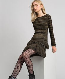 Lurex knit dress with flounces Black Striped / Lurex Woman 192TT3221-01