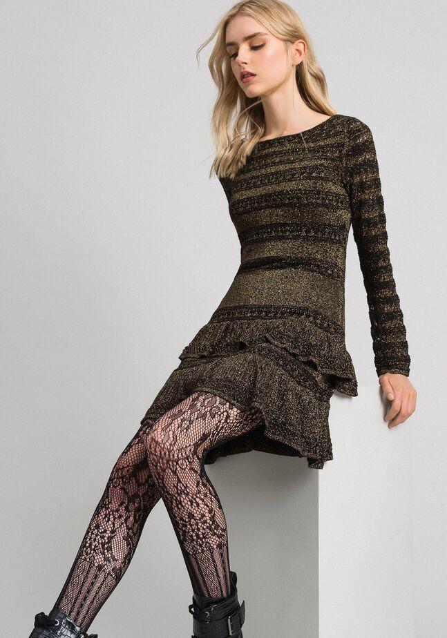 Трикотажное платье из люрекса с оборками