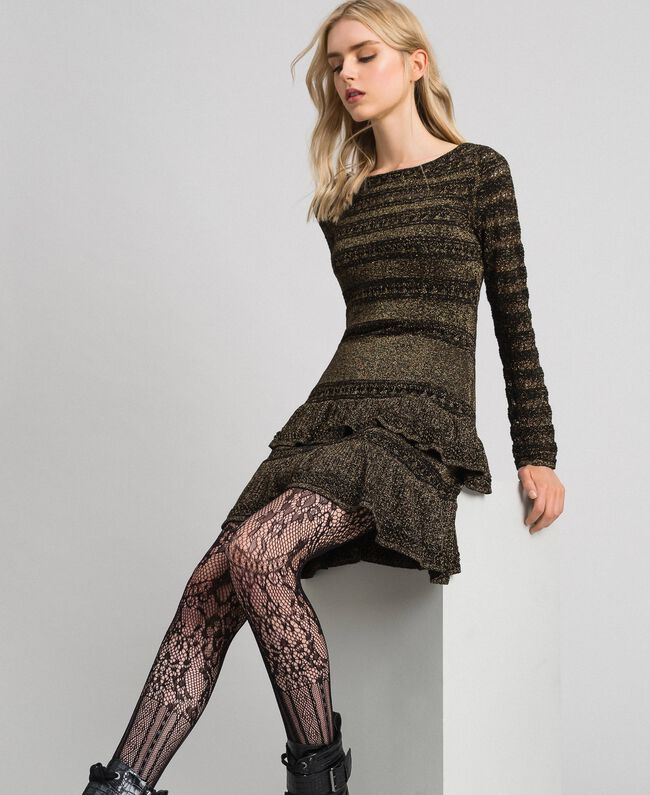 Robe en maille lurex à volants Rayé Noir / Lurex Femme 192TT3221-01
