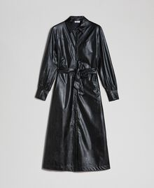Faux leather long shirt dress Black Woman 192ST2010-0S