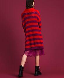 Gestreiftes Kleid aus Mohair mit Unterkleid Streifen Rote-Bete-Rot / Granatapfel Frau 192TP3270-03