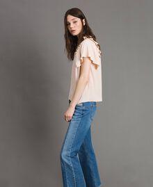 Rüschen-Bluse aus Seide-Mix Blütenknospenrosa Frau 191TP2136-02