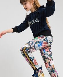 Scuba trousers with floral and graffiti print Graffiti Print Child 192GJ2494-03