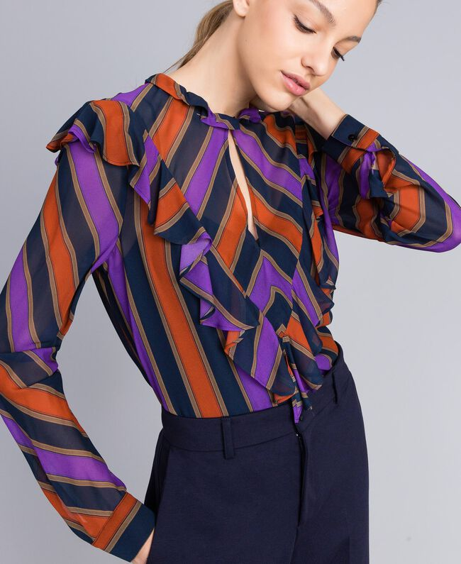 Blusa in georgette a righe Stampa Riga Multicolor Donna TA8291-01