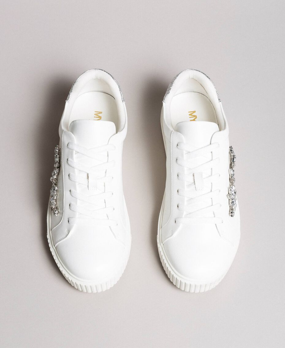 Faux leather sneakers with stones White Cream Woman 191MCP032-05