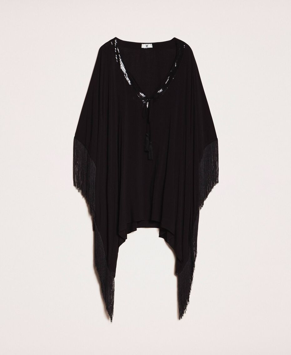 Kimono-style kaftan with fringes Black Woman 201LB2CLL-0S