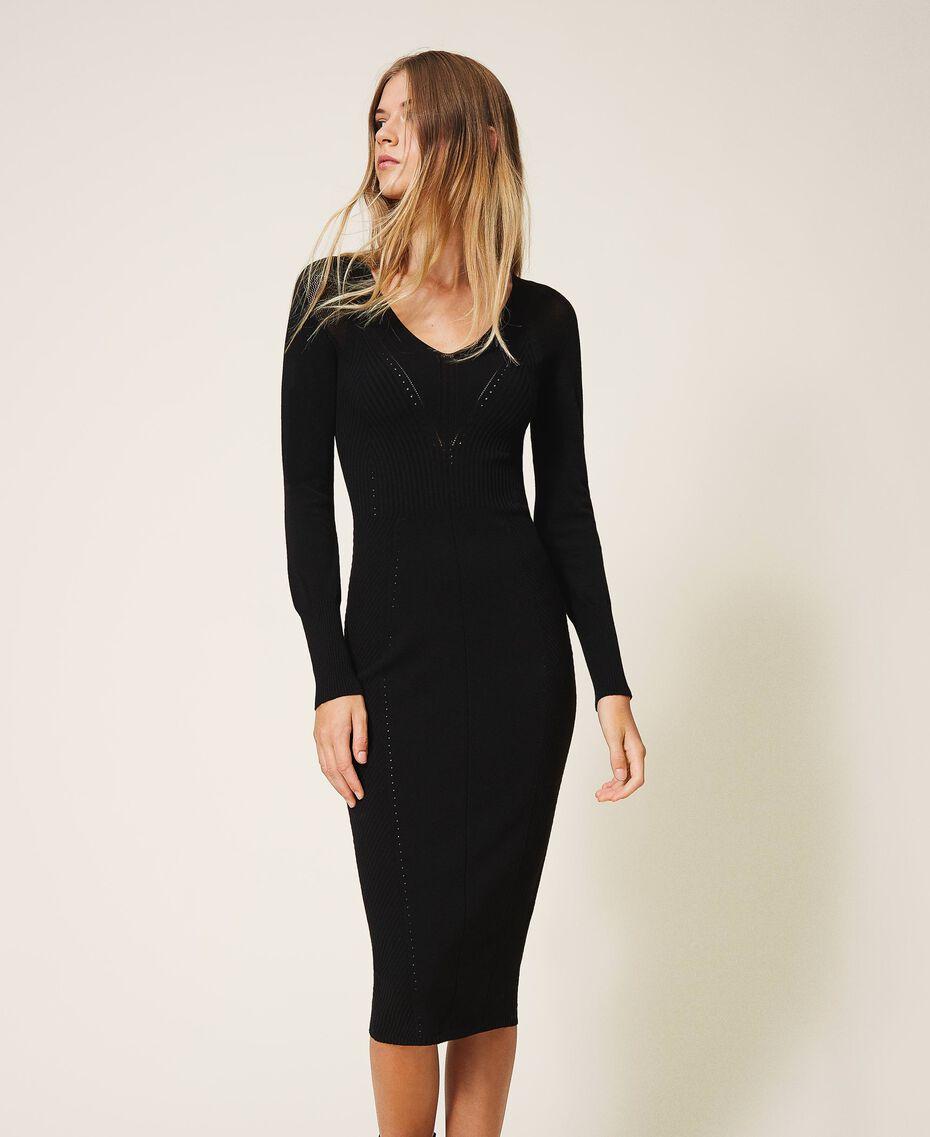 Robe fourreau en maille Noir Femme 202TT3120-01