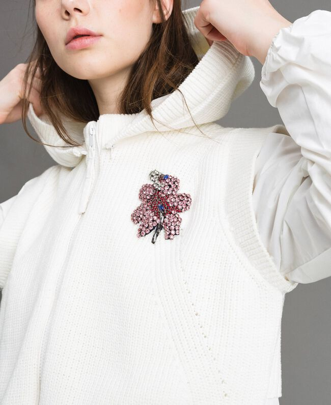 "Taffeta and knit sweatshirt ""Silk"" White Woman 191TP2041-04"