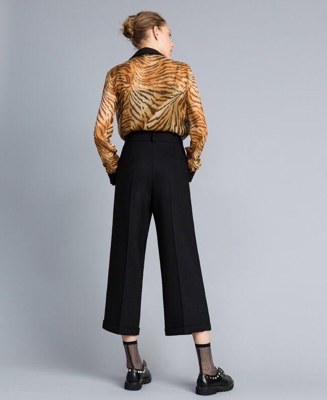 Cropped-Hose aus Bi-Stretch-Wolle Schwarz Frau TA8271-03