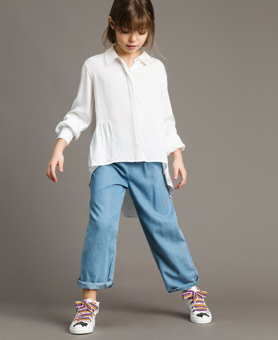 Satin asymmetric shirt Off White Child 191GJ2361-0S
