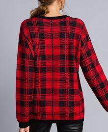 """Maxi check jacquard jumper """"Poppy"""" Red / Black Check Wolf Jacquard Woman YA83HN-03"""