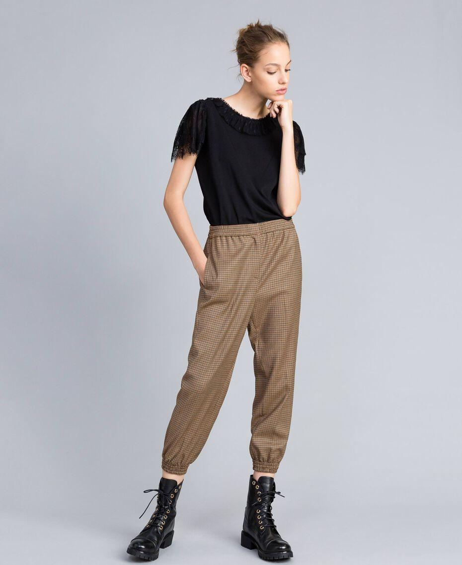 """Pantaloni jogging in misto lana Jacquard Quadretti Arancione """"Bruciato"""" Donna TA821Q-01"""