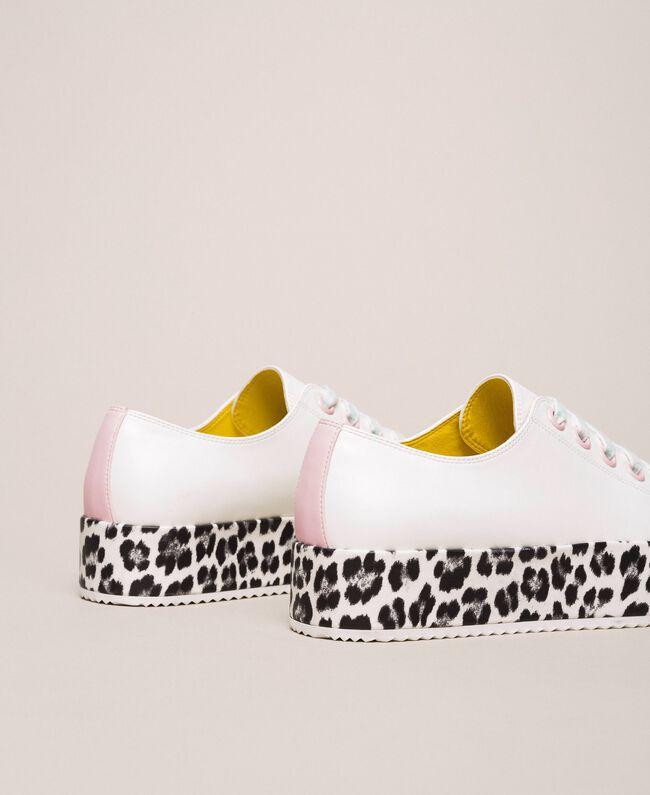 Animal print platform trainers Two-tone Vanilla / Animal Print Woman 201MCP140-04