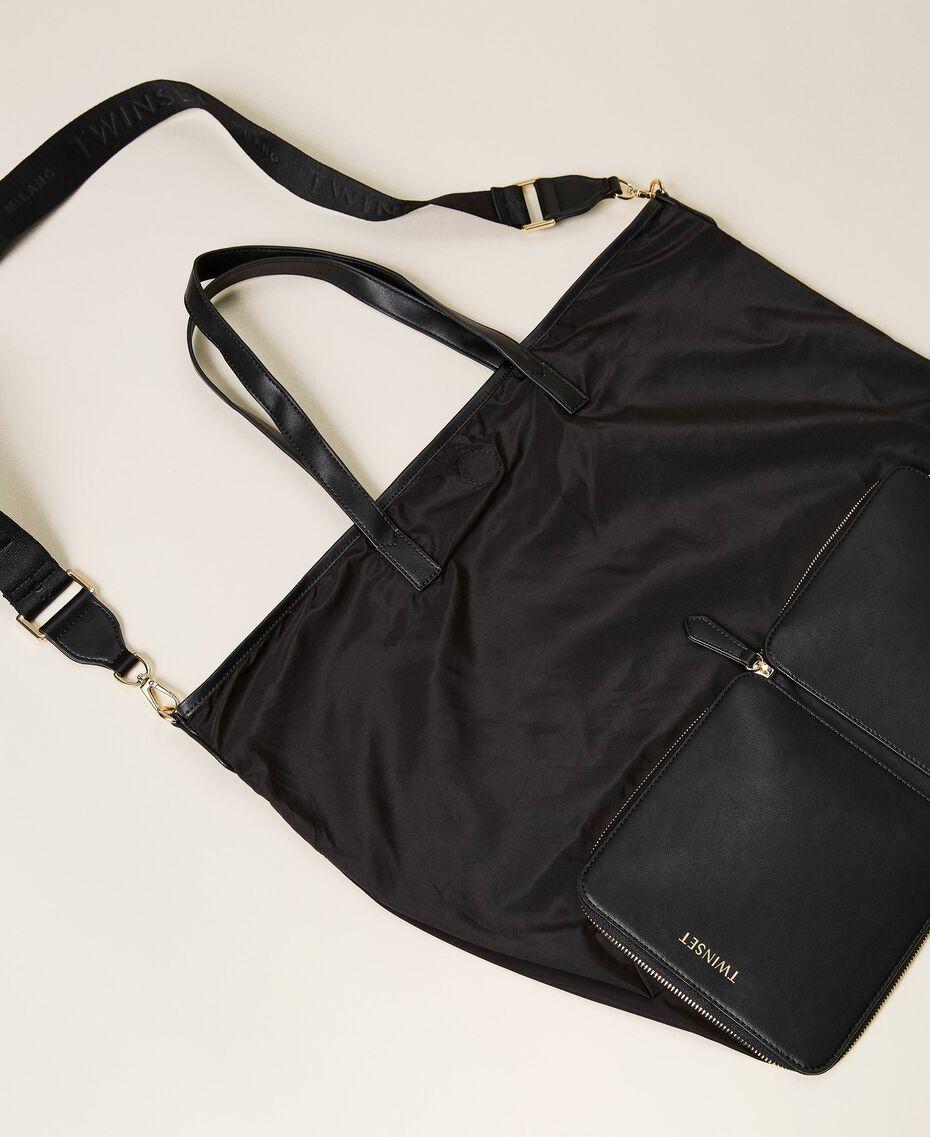 Foldable shopper with logo Black Woman 212TB7190-03