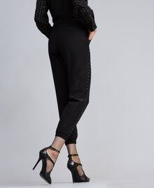 Studded silk jogging trousers Black Woman PA82EV-03