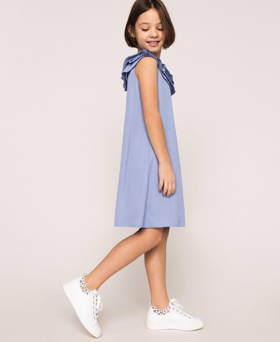 "Georgette dress with pleated ruffles ""Ice"" Dark Blue Child 201GJ2QE0-02"