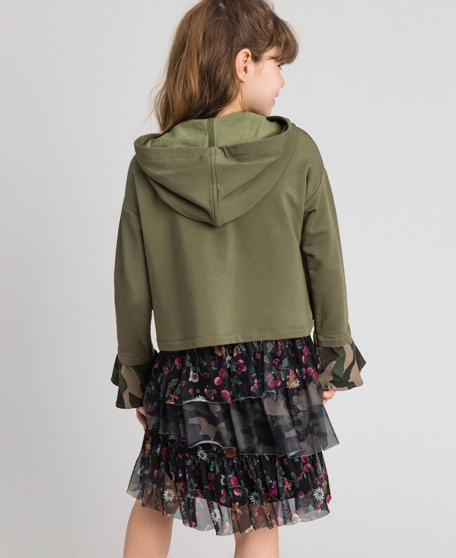 """Butterfly patch hoodie """"Alpine"""" Green / Camouflage Print Child 192GJ2560-04"""