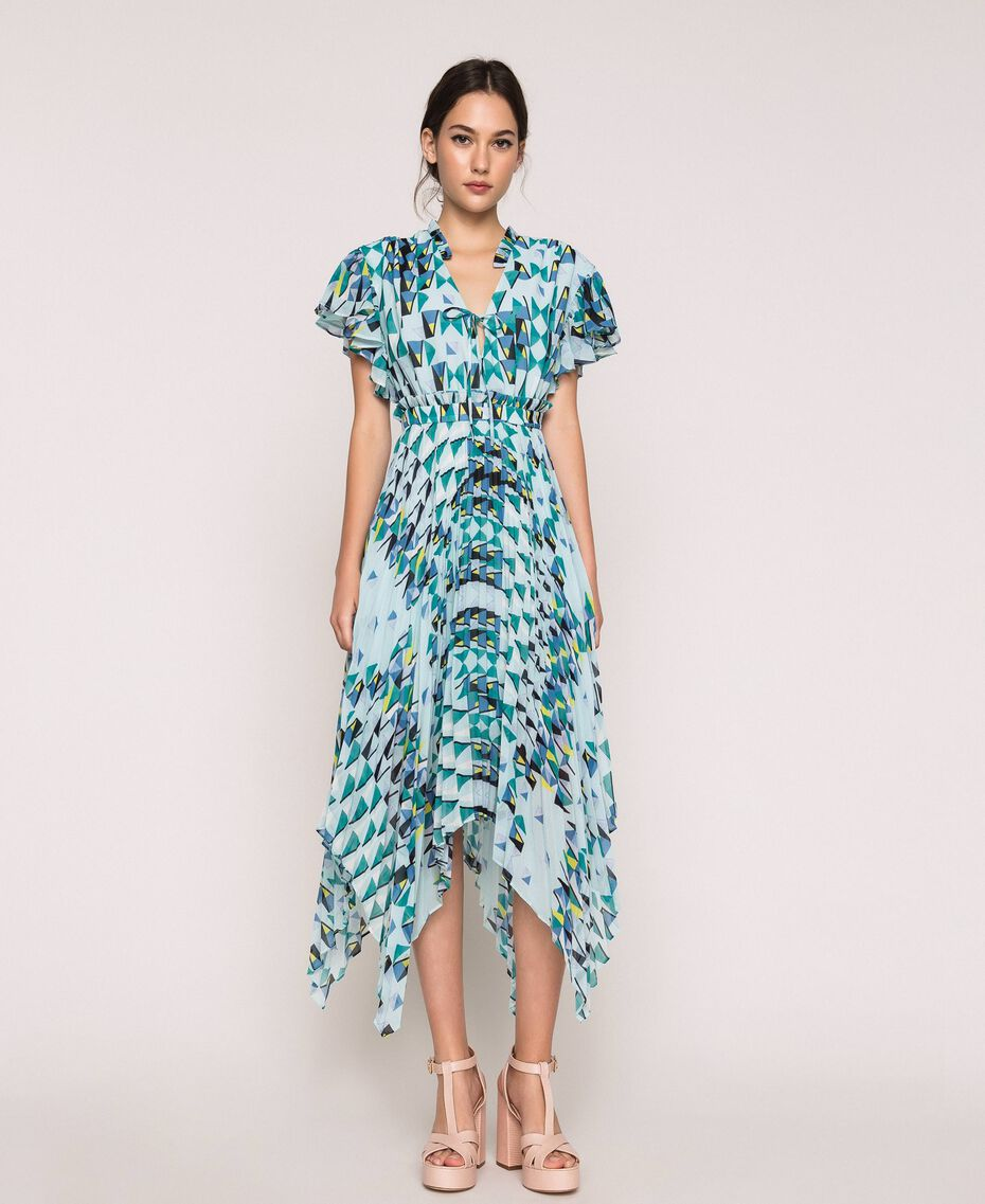 "Printed georgette dress with pleats and frills ""Windy"" Blue Geometric Print Woman 201ST2185-01"