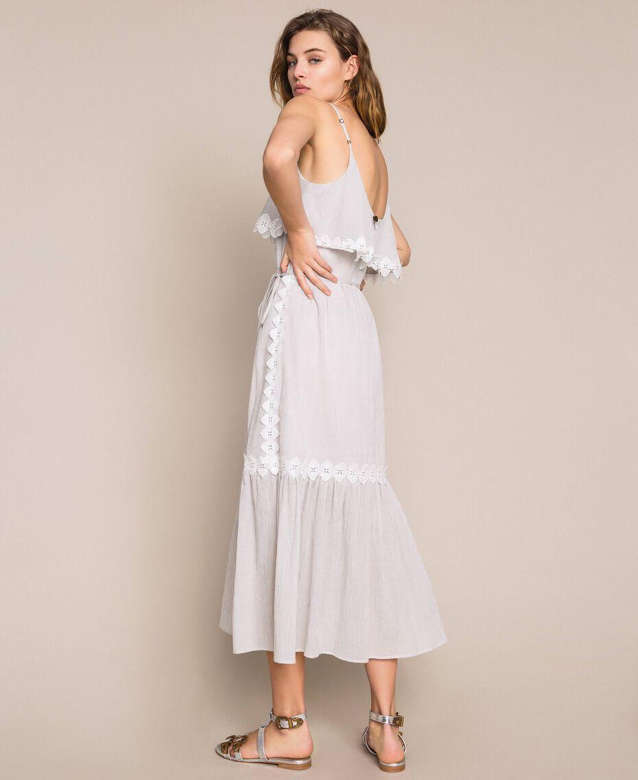 Robe longue en crépon avec dentelle Fil à fil Gris Moyen Femme 201TT2193-03