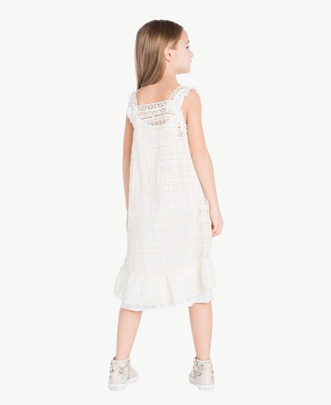 Robe dentelle Bicolore Blanc Papyrus / Chantilly Enfant GS82Z3-04