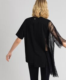 Asymmetric printed T-shirt with lace Black Woman 192MP2434-03