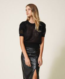 Mohair jumper with embroidery Black Woman 202TP3261-01