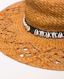 Straw hat with shells and rhinestones Black Woman 201TO5401-01