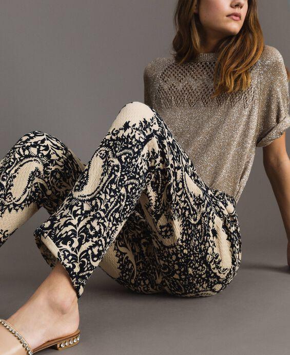 Matelassé cotton printed trousers