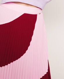 """Pleated crêpe de Chine midi skirt Two-tone """"Crimson"""" Red / """"Candy"""" Pink Woman 201ST2013-04"""